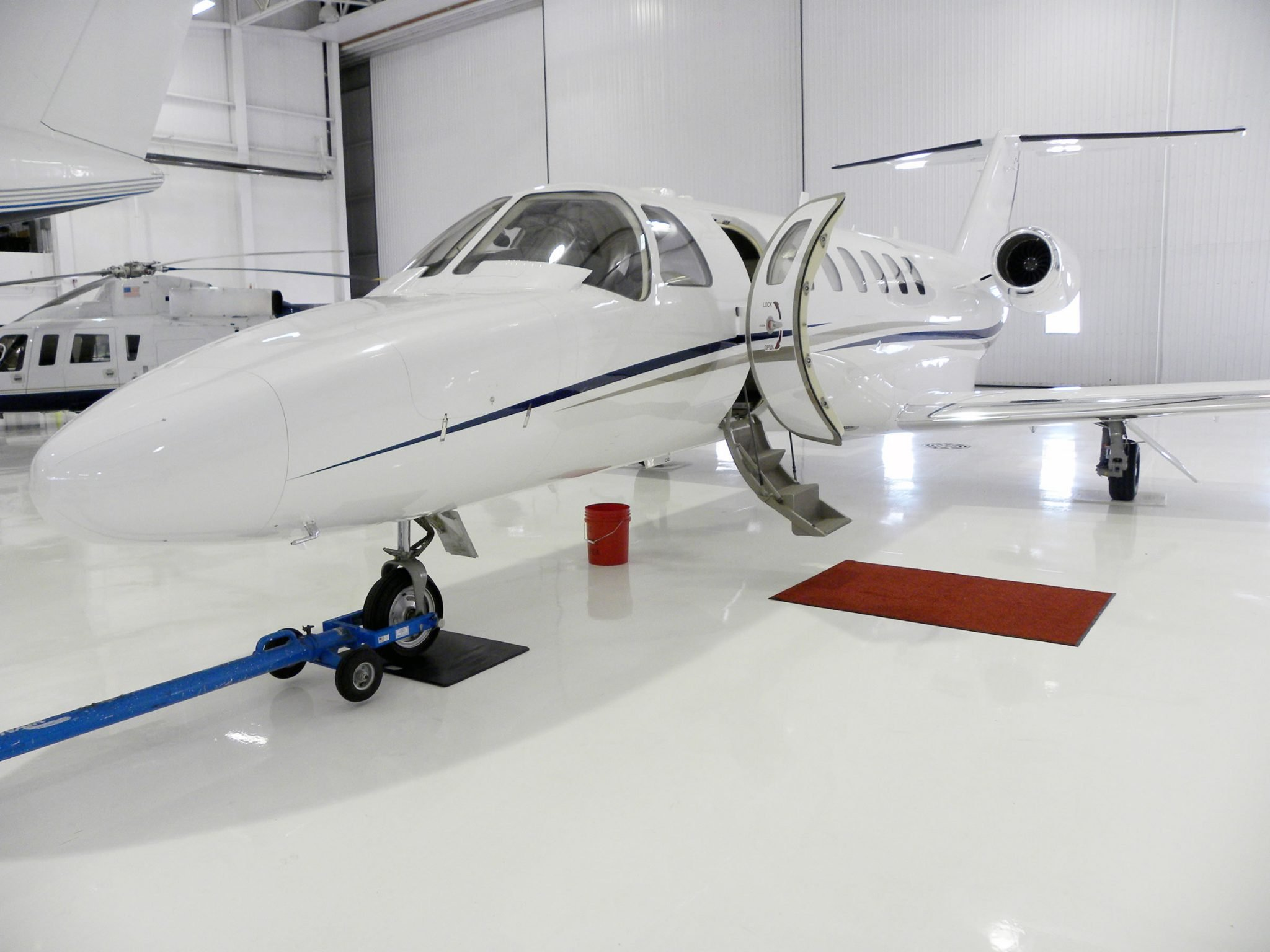 White Airplane Hangar Floor Coating