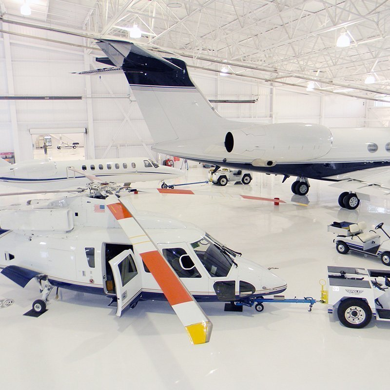 Airplanes and Helicopter on V-8 Floor Coating
