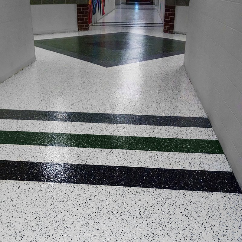 Easy To Clean Commercial Industrial Flooring: Low Maintenance Vinyl Chip Floor Coating For Schools