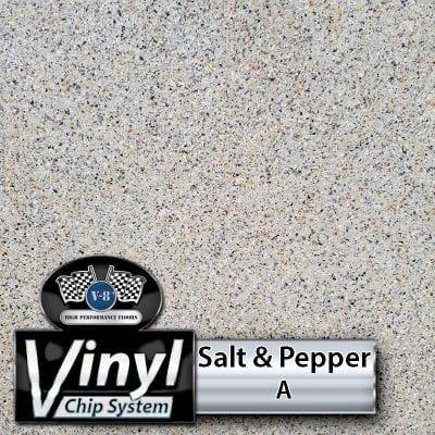 Vinyl Chip Blend that resembles Salt and Pepper Polished Concrete