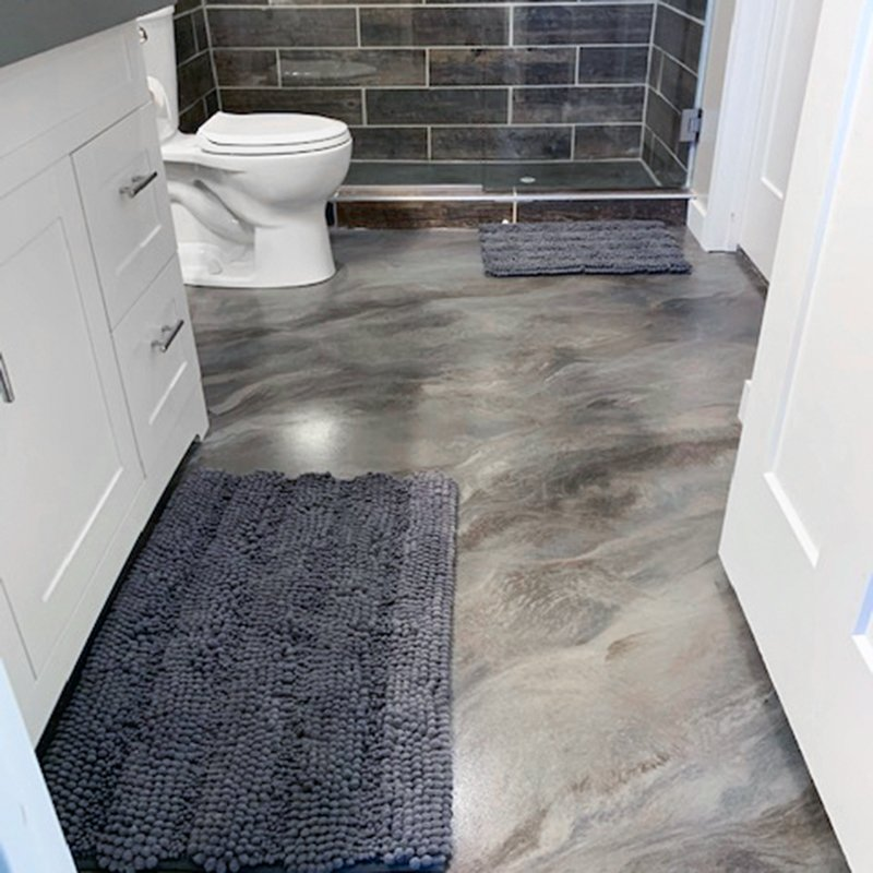 Seamless bathroom flooring