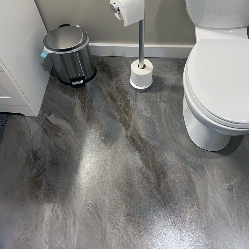 Decorative bathroom floor coating